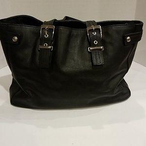 Express black genuine leather handbag